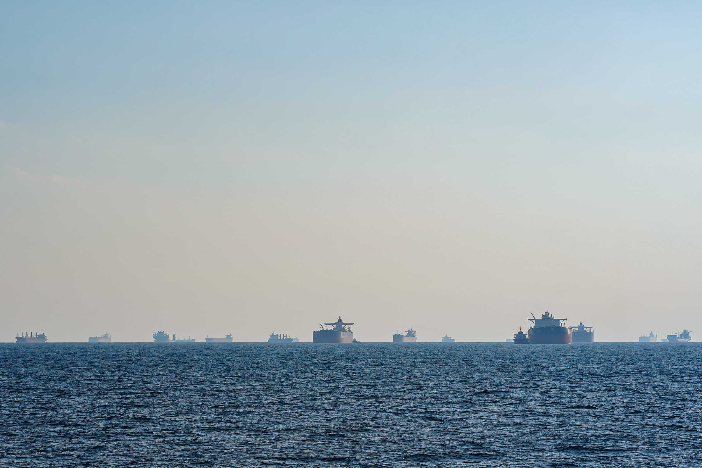 Oil tankers waiting in the Strait of Hormuz